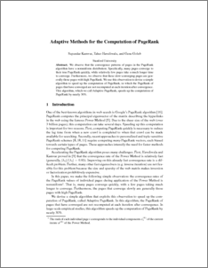 Adaptive Methods for the Computation of PageRank - Stanford InfoLab Publication Server